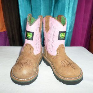 INFANT JOHN DEERE PINK AND TAN WESTERN BOOTS